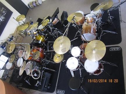 Drumschool drumkits overzicht schuin