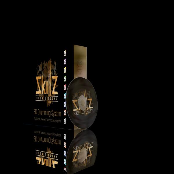 Dit is een 3D beeld van de recherzijde van het 3D Drumming System door Skillz Drum Lessons